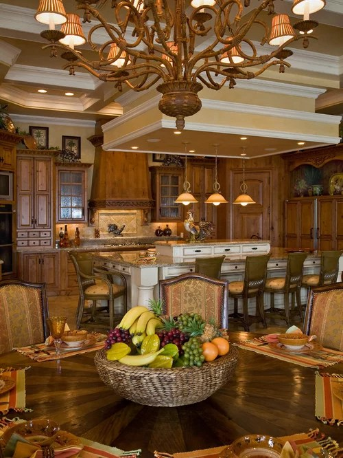 Tuscan Living Room With High Ceiling And Traditional