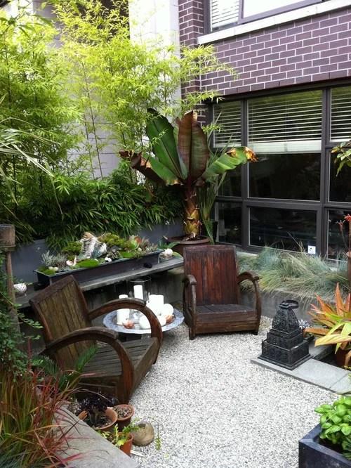 Tropical Small Space Garden Home Design Ideas & Photos
