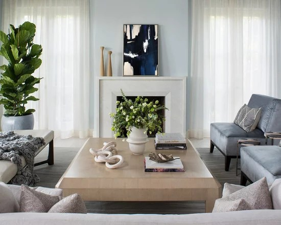Beach Style Living Rooms With Curtains White