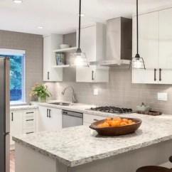 Gray Subway Tile Kitchen Moen Sink Faucet Backsplash Houzz Inspiration For A Mid Sized Transitional L Shaped Medium Tone Wood Floor Open Concept