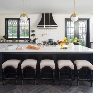 black and white tile kitchen design software floor ideas photos houzz transitional eat in designs inspiration for a u shaped dark wood