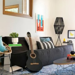 Black Sofa Living Room Images Snack Table Walmart Rooms With Sofas Houzz Example Of An Eclectic Design In Minneapolis White Walls