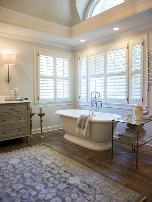 Modern Gray Bathroom Faux Wood Tile | Houzz