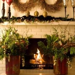Elegant Christmas Living Room Decor Colors With Dark Furniture Decorations | Houzz