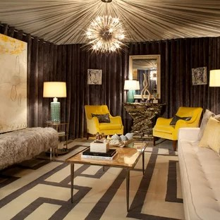 yellow and brown living room decorating ideas dining furniture arrangement houzz inspiration for a mid sized contemporary formal enclosed carpeted remodel in houston