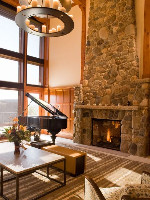 Rustic Stone Fireplace Home Design Ideas Pictures