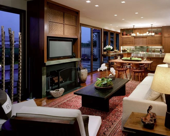 Asian Family Room by Marguerite Rodgers Interior Design