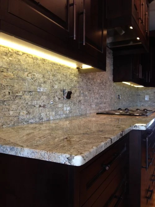 2 tier kitchen island macy's towels crazy horse granite with tile backsplash