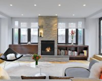 Fireplace Between Windows Ideas, Pictures, Remodel and Decor