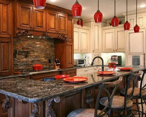slate kitchen appliances delta sinks stacked stone backsplash | houzz