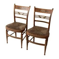 rush seat chairs tabletop high chair recall 50 most popular for 2019 houzz unknown consigned antique painted set of 2 dining