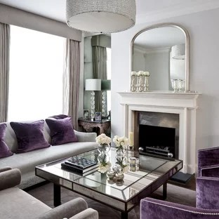mirrors living room l shaped couch design 3 ideas photos houzz large elegant open concept dark wood floor photo in london with white walls