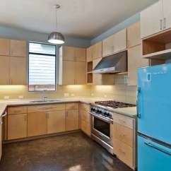 Colored Kitchen Appliances Showcase Flat Front Cabinets | Houzz