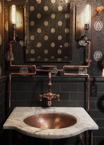 Industrial Bathroom by Frederic Grasset Design Build
