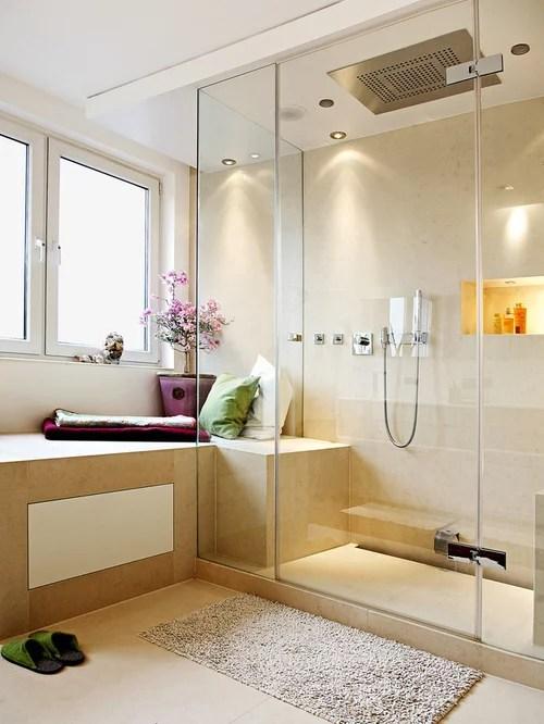 Badezimmer Mit Travertin Und Bodengleicher Dusche Ideen