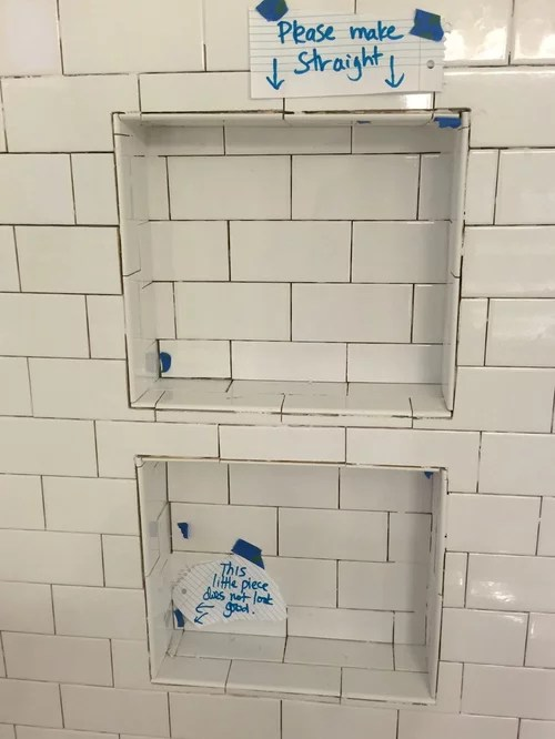 subway tile is supposed to be installed