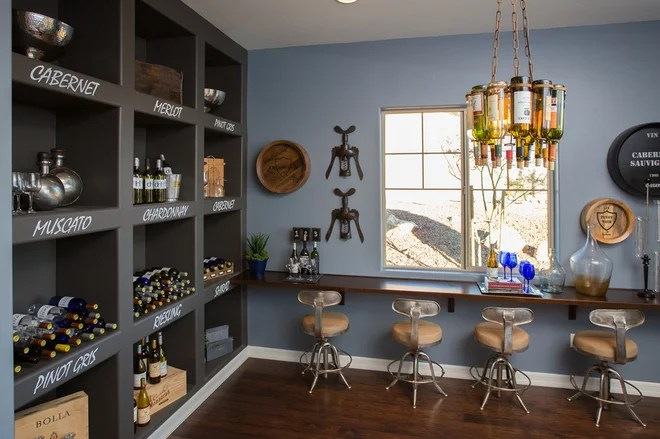 Transitional Wine Cellar by Dorn Homes