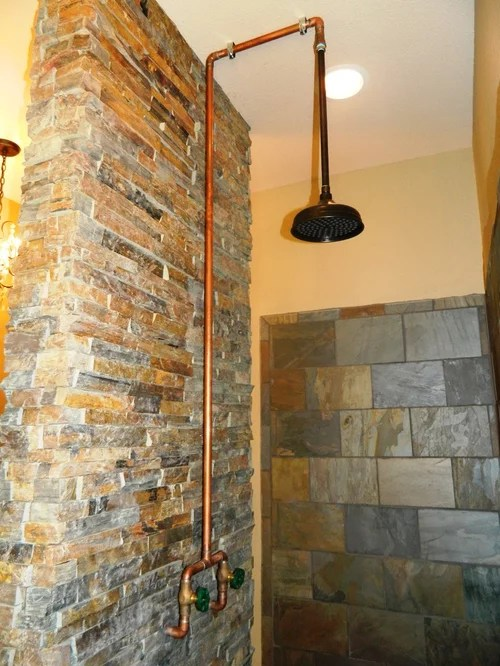 Exposed Copper Shower Ideas Pictures Remodel and Decor