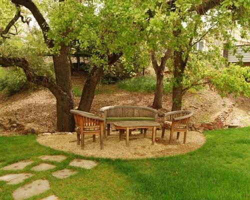 gravel seating area