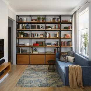 living rooms with blue and brown american girl doll room furniture ideas photos houzz example of a trendy enclosed light wood floor library design in