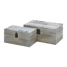 Contemporary Style Cly Styled Attractive Wood Rope Box Set Of 3 Home Decor Beach