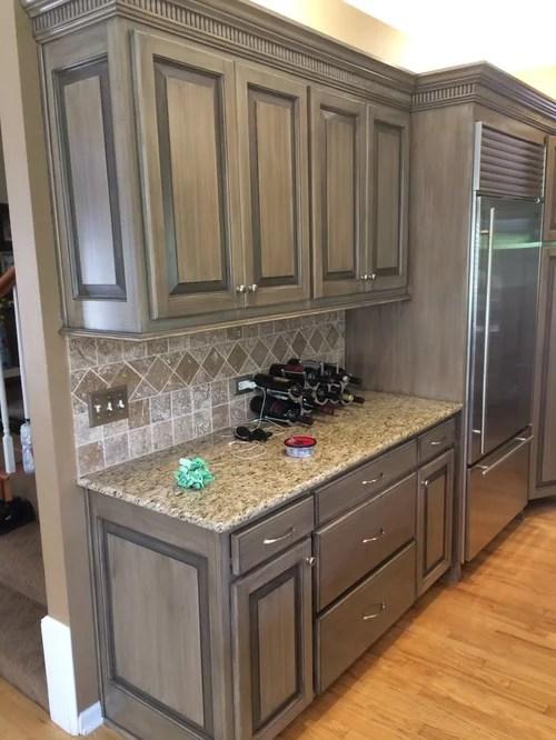 Kitchen Cabinets  Blonde Pickled to Medium Gray