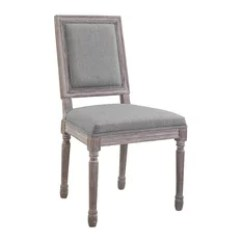 White Distressed Dining Chairs How To Recover Room 50 Most Popular For 2019 Houzz Lexmod Court Vintage French Upholstered Fabric Side Chair Light Gray