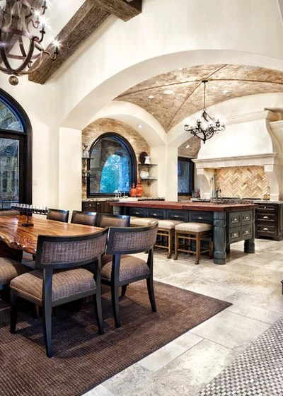 Mediterranean Dining Room by JAUREGUI Architect Builder