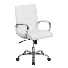 executive revolving chair specifications steel olx seat height 24 inch office chairs houzz flash furniture mid back white leather swivel with chrome base and arms