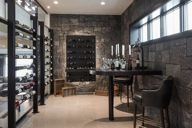 Contemporary Wine Cellar by Rochelle Cote Interior Design
