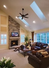Need help decorating a wall in vaulted living room