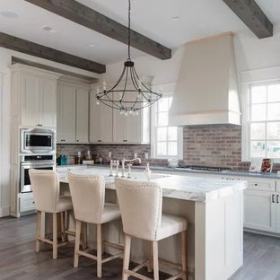 brick kitchen backsplash pos display system 75 most popular farmhouse with design ideas remodeling example of a u shaped dark wood floor and brown