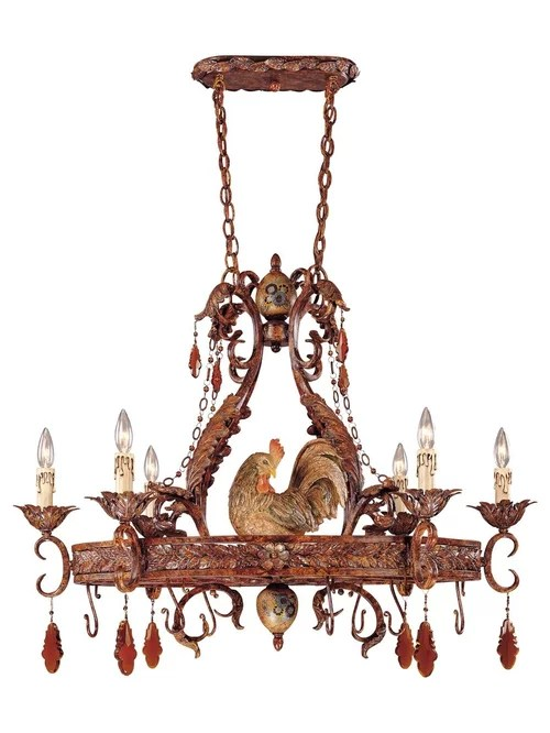 farmhouse kitchen lighting 33x19 sink savoy house clyde country rooster chandeliers & pot rack ...