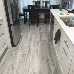 gray kitchen floor modern light fixtures grey wood ideas photos houzz mid sized eat in designs example of a