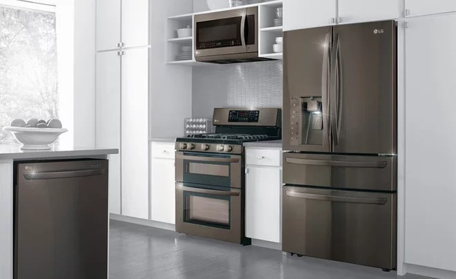 Colored stainless steel appliances. Black stainless steel is making a buzz.