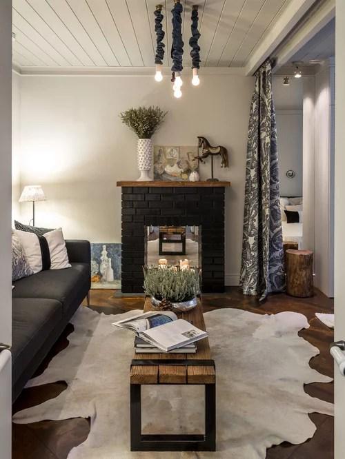 Kleine Wohnzimmer mit Kaminsims aus Backstein  Ideen Design Bilder  Beispiele
