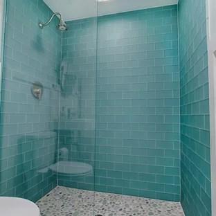coastal glass tile bathroom