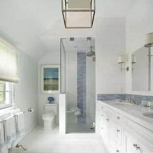 transitional blue tile bathroom