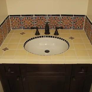 75 beautiful yellow tile bathroom with
