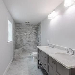 subway tile slate floor bathroom