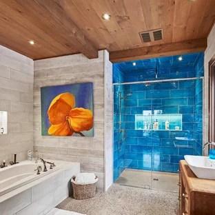75 beautiful rustic blue tile bathroom