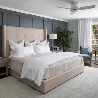 transitional dark wood floor bedroom