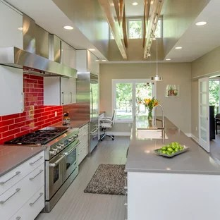 red subway tile houzz
