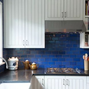 blue tile white grout houzz