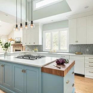 kitchen with blue backsplash pictures