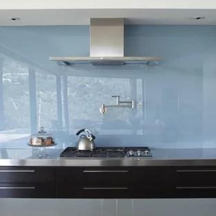 blue glass backsplash houzz