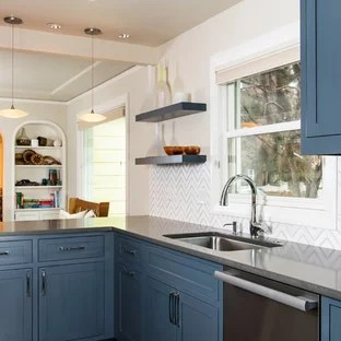 75 Beautiful Kitchen With Zinc Countertops And A Peninsula Pictures Ideas January 2021 Houzz