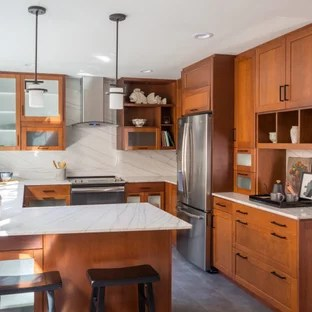75 Beautiful Transitional Kitchen With Brown Cabinets Pictures Ideas January 2021 Houzz
