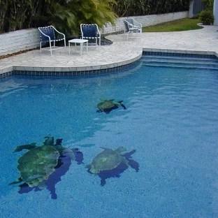 sea turtle pool mosaic houzz