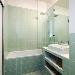 75 beautiful modern green tile bathroom